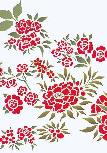 chinese flowers theme pack stencil  henny donovan motif, Beautiful flower