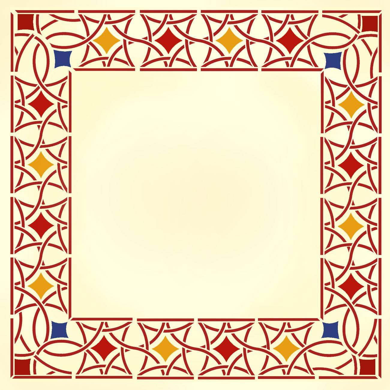 Moroccan filigree border corner stencil henny donovan for Moroccan shapes templates
