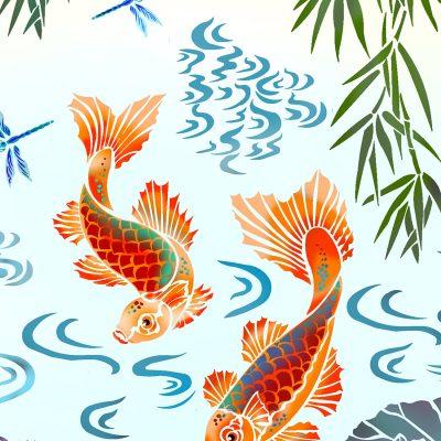 koi-carp-mural-stencil